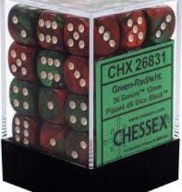 Chessex Chessex Gemini Green Red w/ White 12mm (Small) 36 Dice Set CHX26831