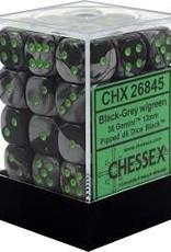 Chessex d6 Cube 12mm Gemini Black & Grey w/ Green (36)