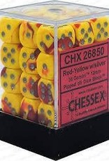 Chessex CHX26850 GEMINI RED/YELLOW WITH SILVER 36 X 12MM D6 SET