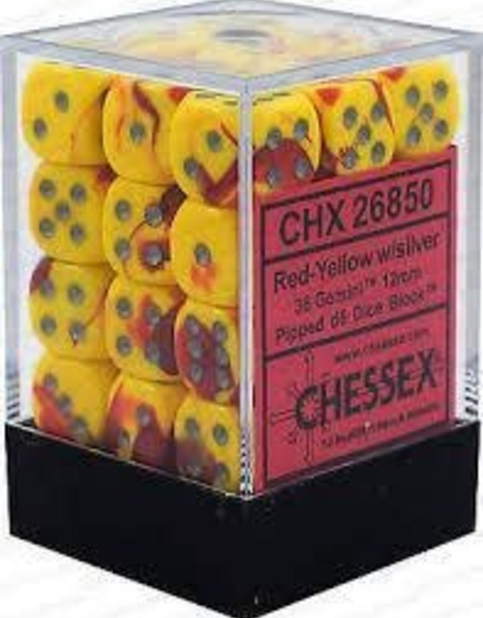 Chessex d6 Cube 12mm Gemini Red & Yellow w/ Silver (36)