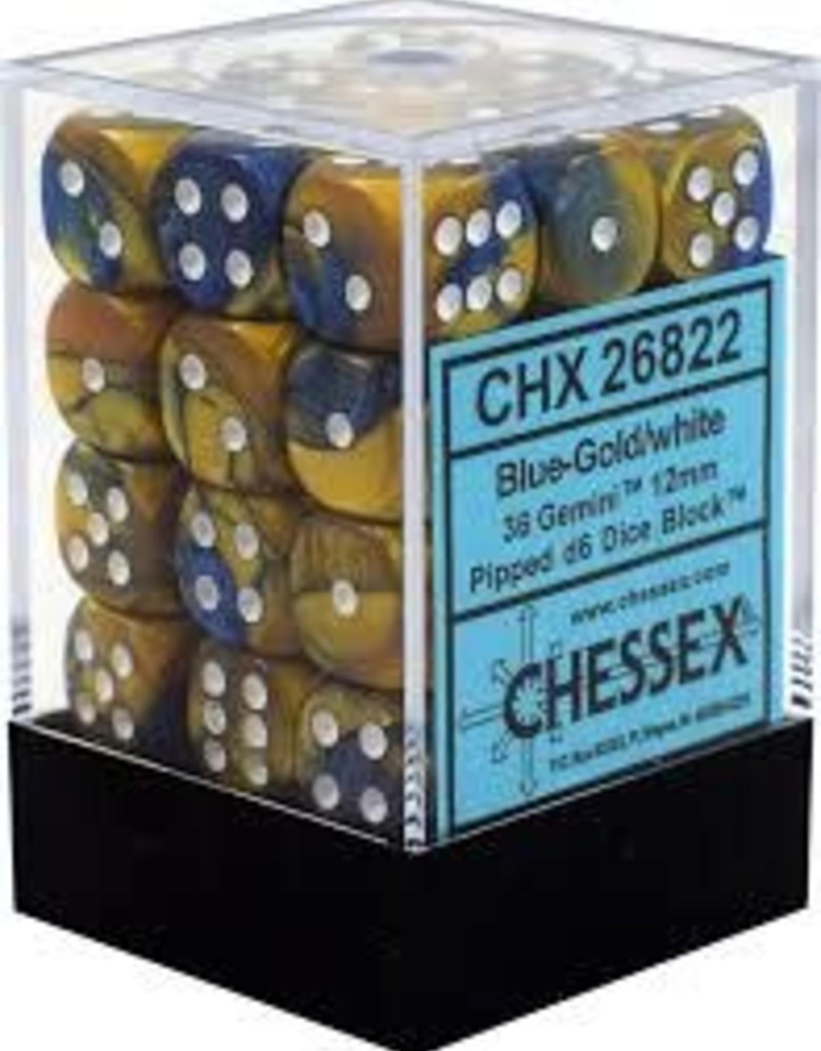 Chessex Chessex Gemini Blue Gold w/ White 12mm (Small) 36 Dice Set CHX26822