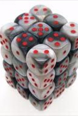 Chessex d6 Cube 12mm Gemini Black & White w/ Red (36)
