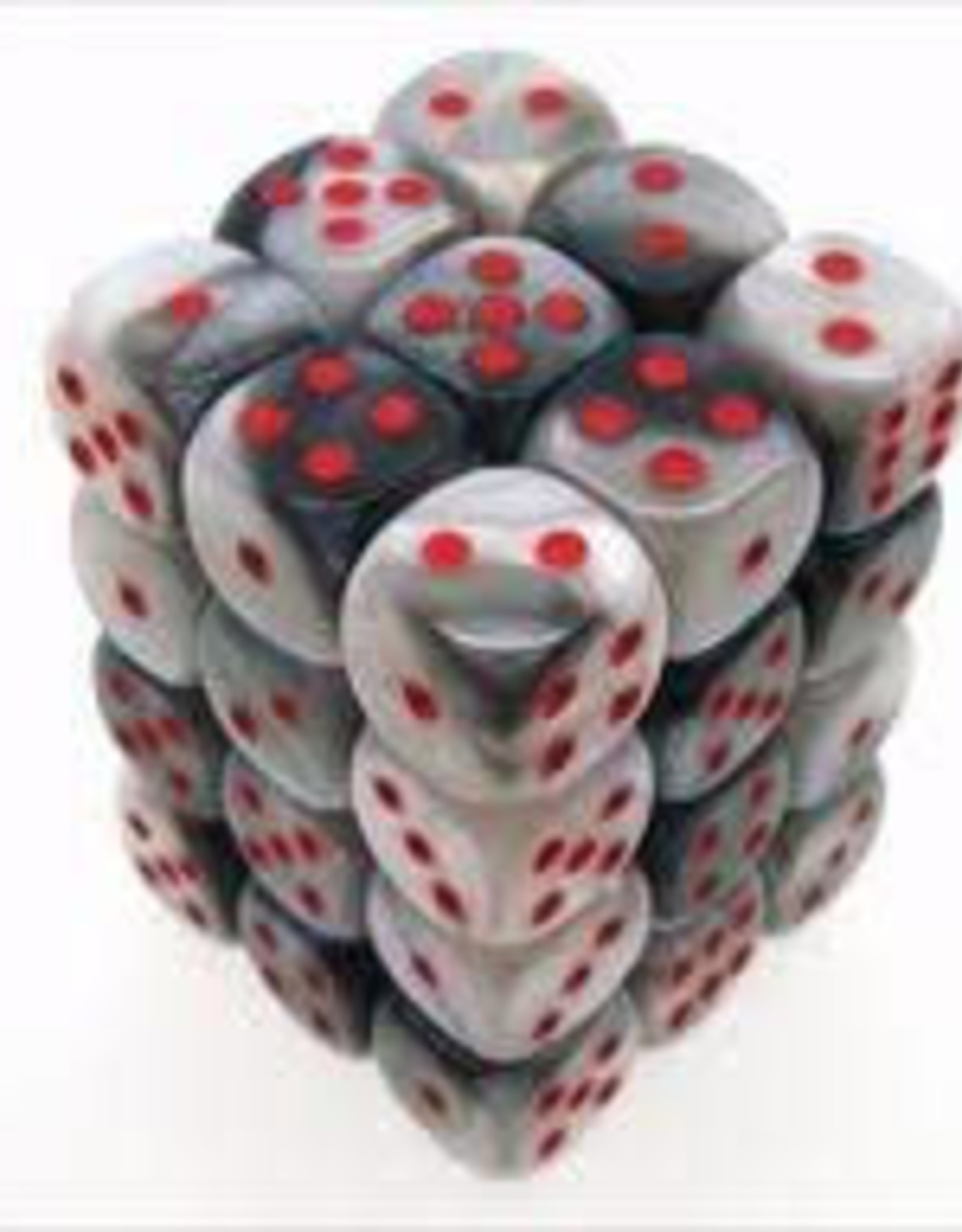 Chessex d6 Cube 12mm Gemini Black & White w/ Red (36)