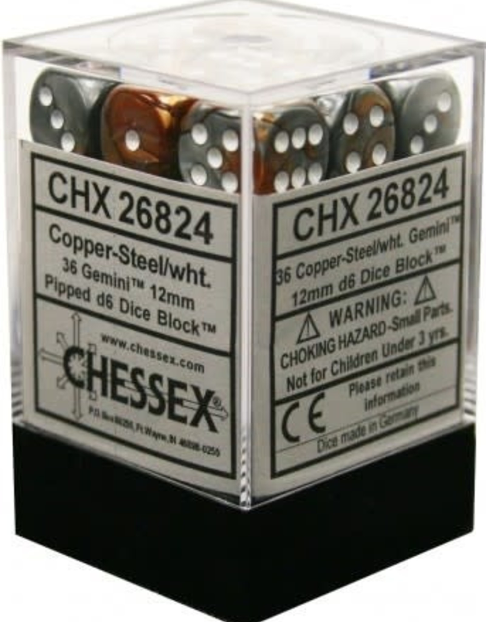 Chessex Chessex Gemini Copper Steel w/White Set of 36 d6 Dice (CHX26824)