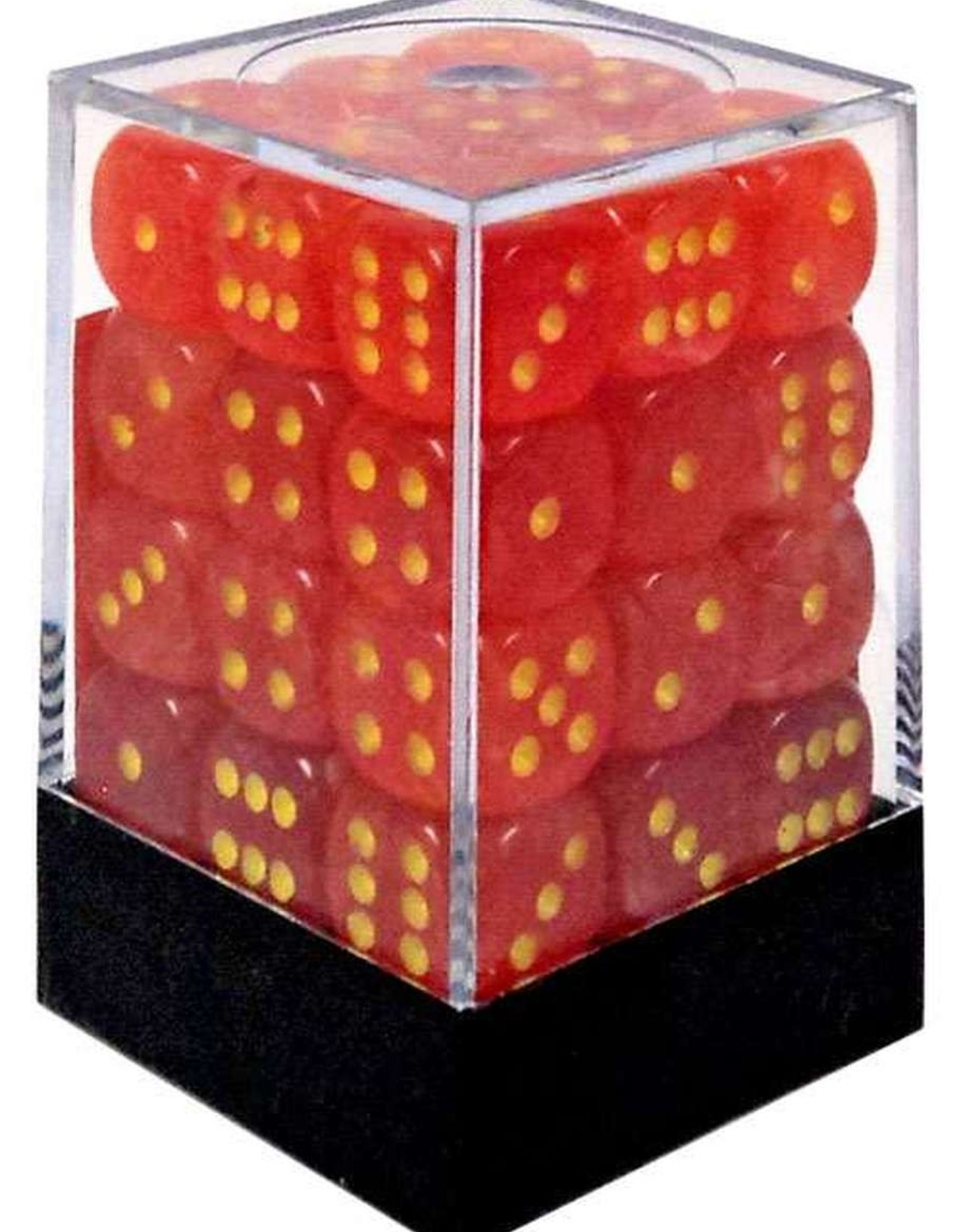 Chessex d6 Cube 12mm Ghostly Glow Orange w/ Yellow (36)