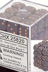Chessex d6 Cube 12mm Opaque Grey w/ Copper (36)