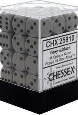 Chessex d6 Cube 12mm Opaque Grey w/ Black (36)