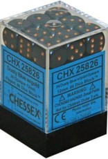 Chessex d6 Cube 12mm Opaque Dusty Blue w/ Gold (36)