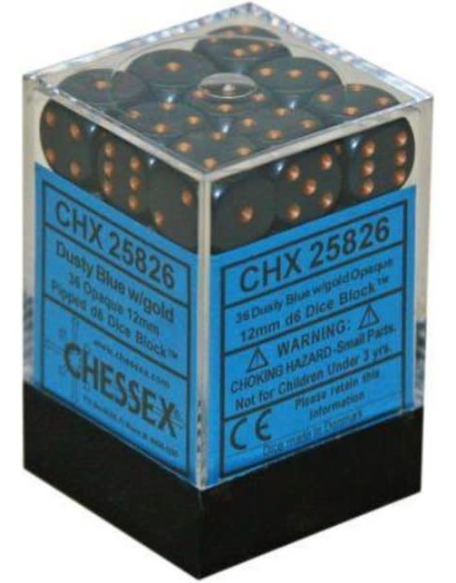 Chessex D6 12mm Dusty Blue w/Copper (36) New