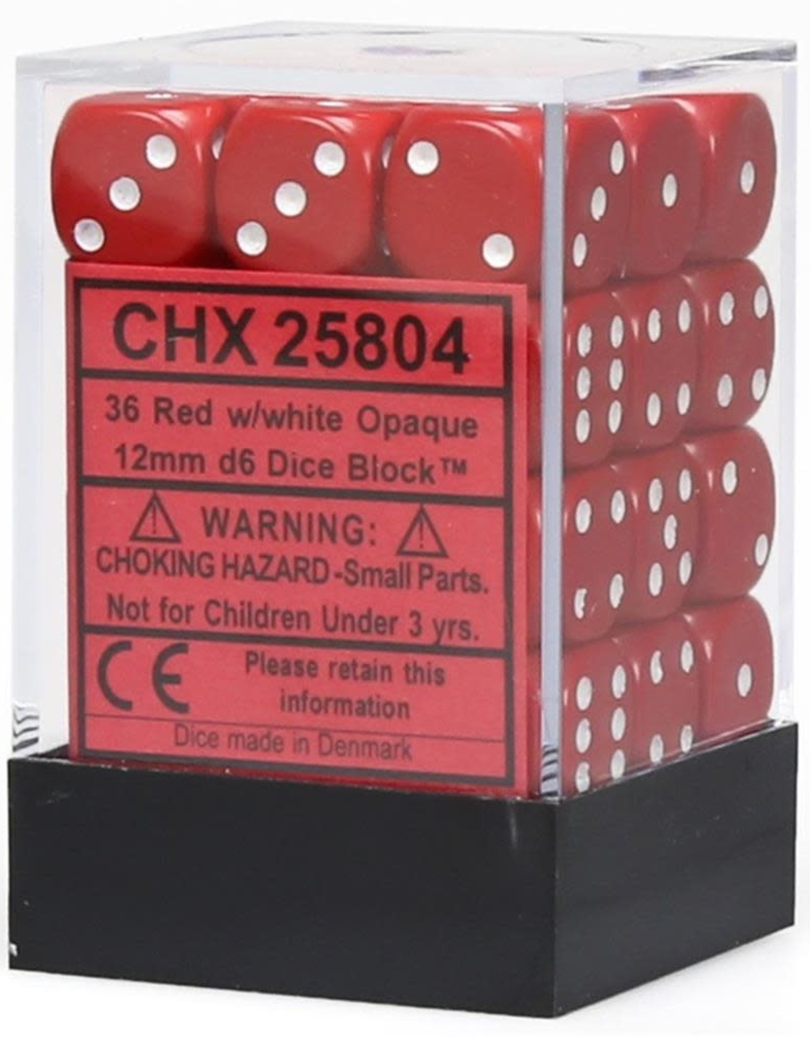Chessex d6 Cube 12mm Opaque Red w/ White (36)