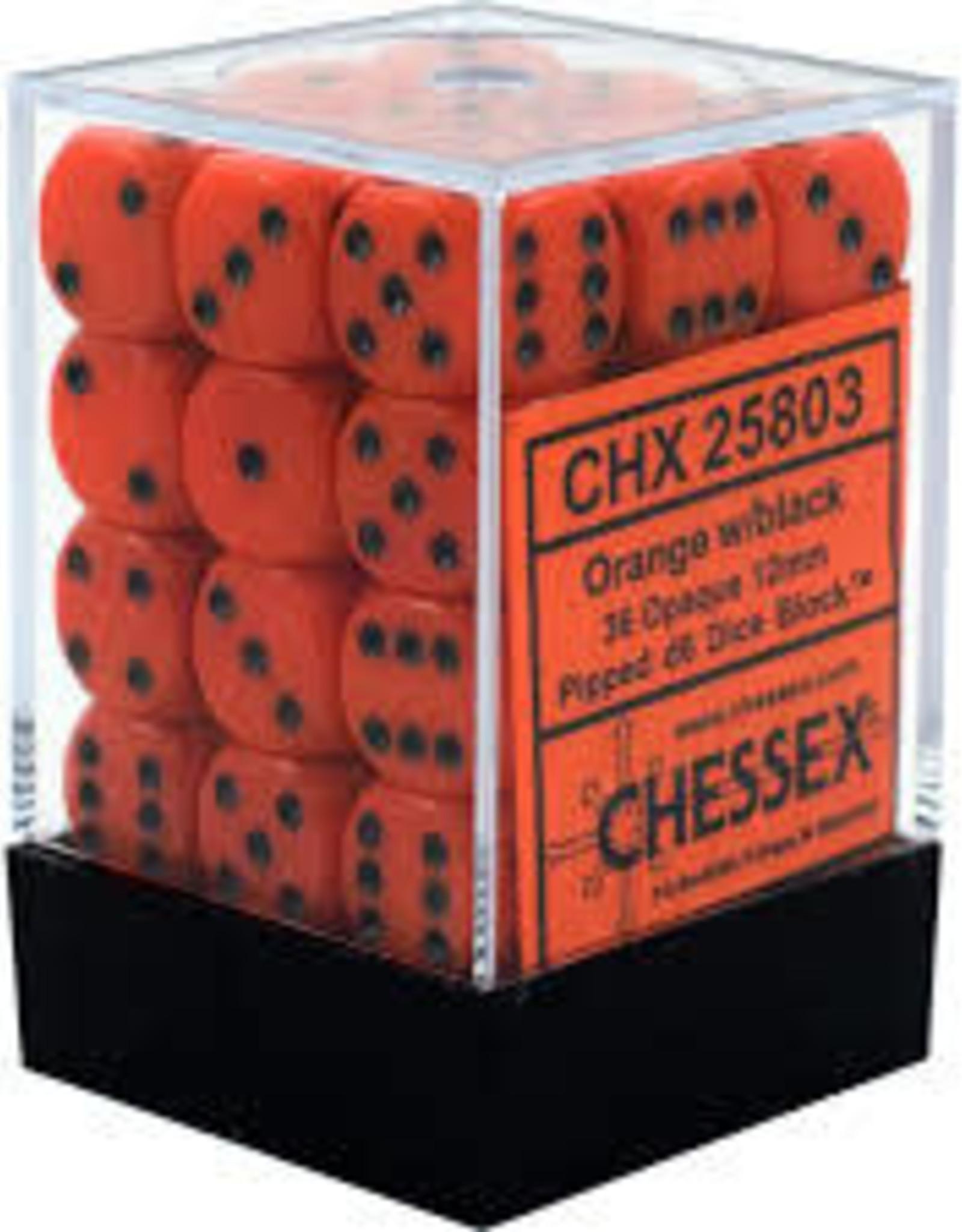 Chessex d6 Cube 12mm Opaque Orange w/ Black (36)