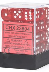 Chessex Chessex Manufacturing CHX23804 12 mm Cube Translucent D6 Dice, Red with White Pips - Pack of 36