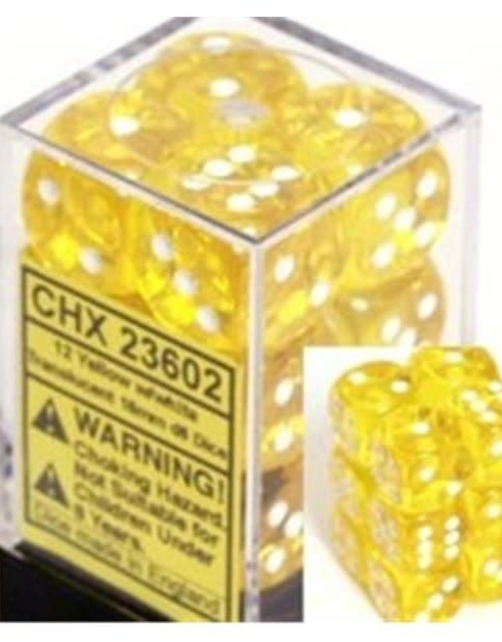 Chessex d6 Cube 12mm Translucent Yellow w/ White (36)