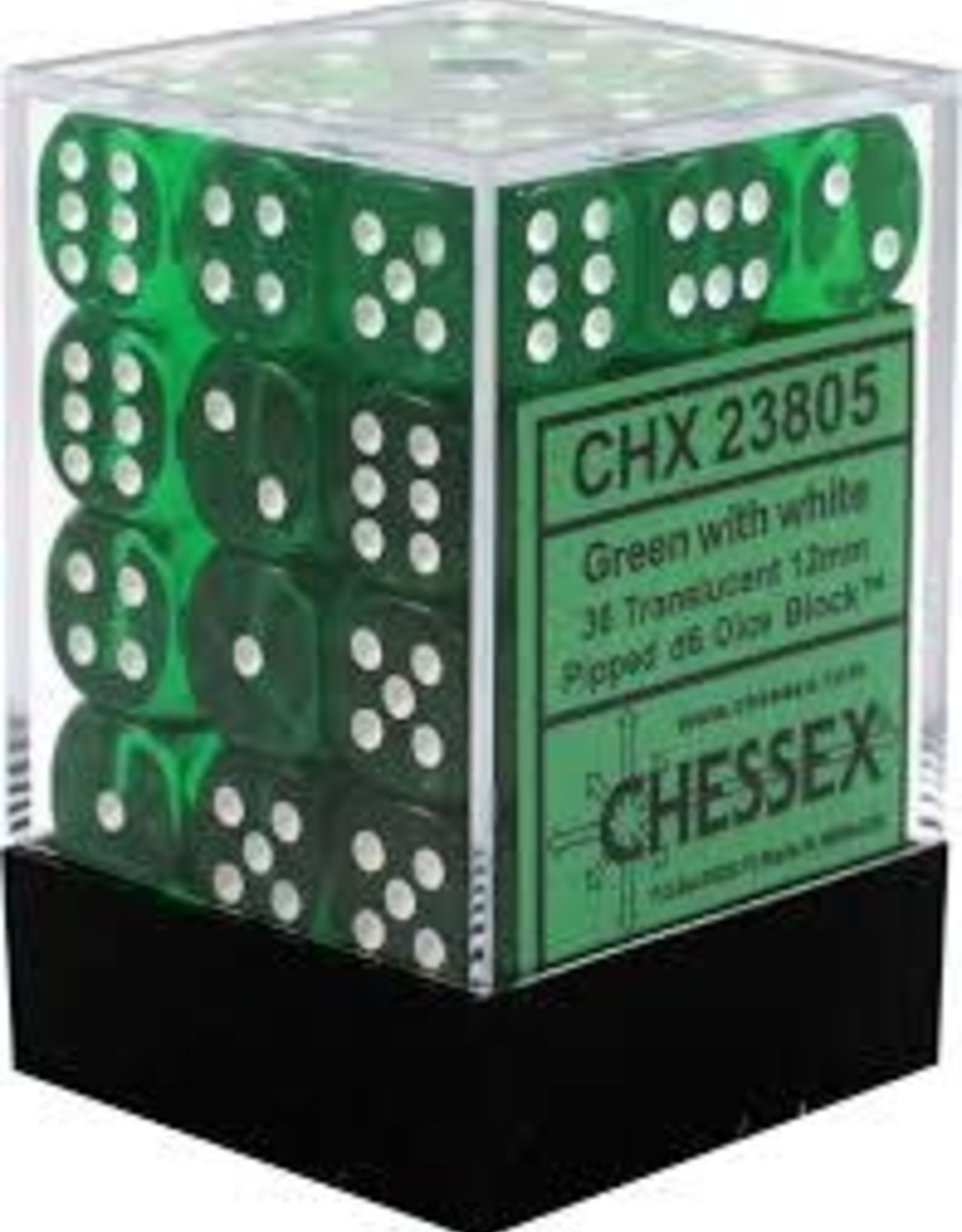 Chessex d6 Cube 12mm Translucent Green w/ White (36)