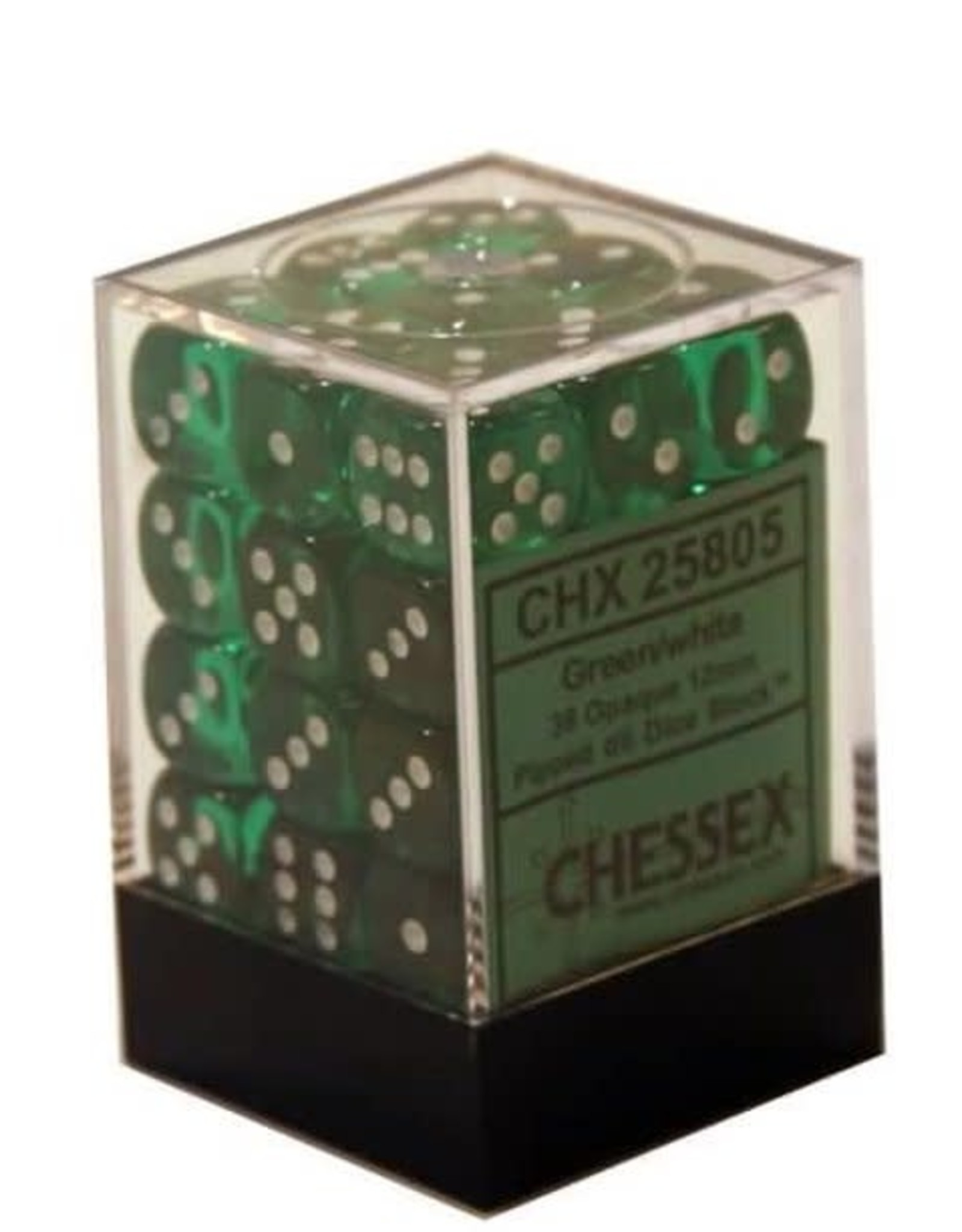 Chessex D6 12mm Green w/White (36) New