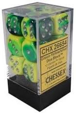 Chessex 12 16mm Green-Yellow w/Silver Gemini D6 Dice Set - CHX26654