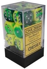 Chessex d6 Cube 16mm Gemini Green & Yellow w/ Silver (12)