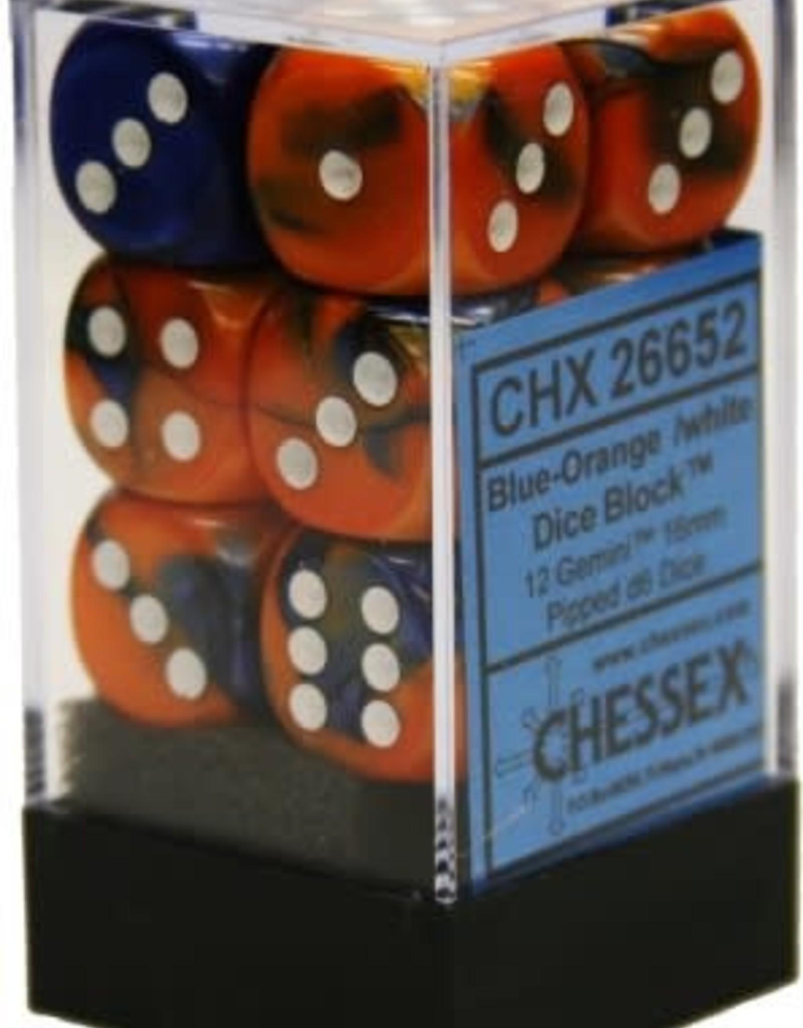 Chessex 12 Blue-Orange /white Gemini 16mm D6 - CHX26652