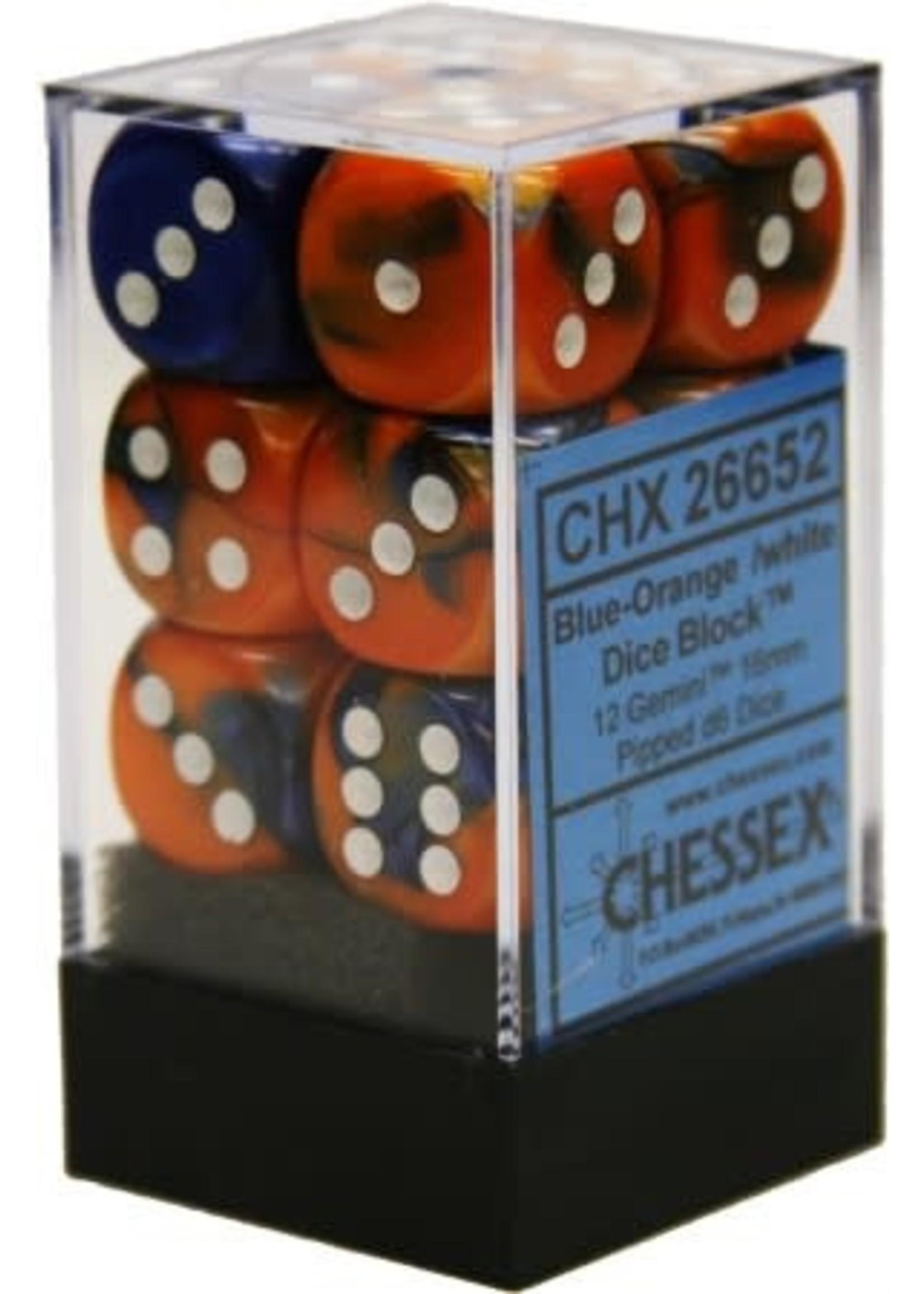 Chessex d6 Cube 16mm Gemini Blue & Orange w/ White (12)