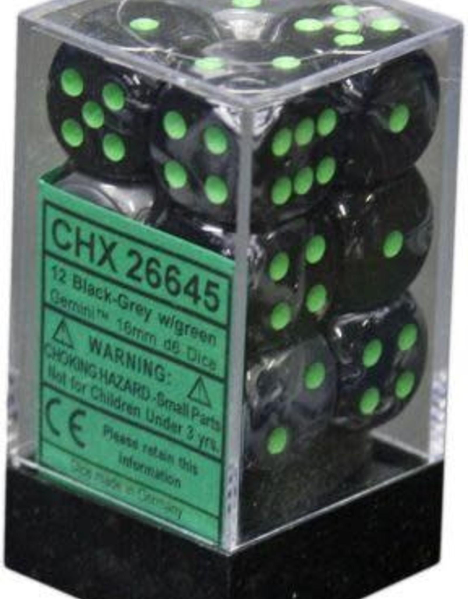 Chessex 12 Black-Grey w/green Gemini 16mm D6 Dice Block - CHX26645