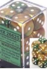 Chessex 12 Gold-Green w/white Gemini 16mm D6 Dice Block - CHX26625
