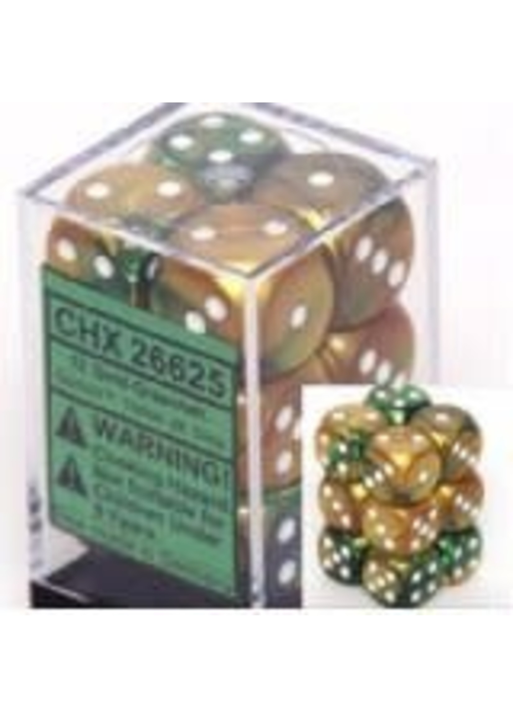 Chessex d6 Cube 16mm Gemini Gold & Green w/ White (12)