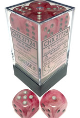 Chessex Ghostly Glow Pink and Silver 12ct 16mm D6 Dice Block - CHX27724
