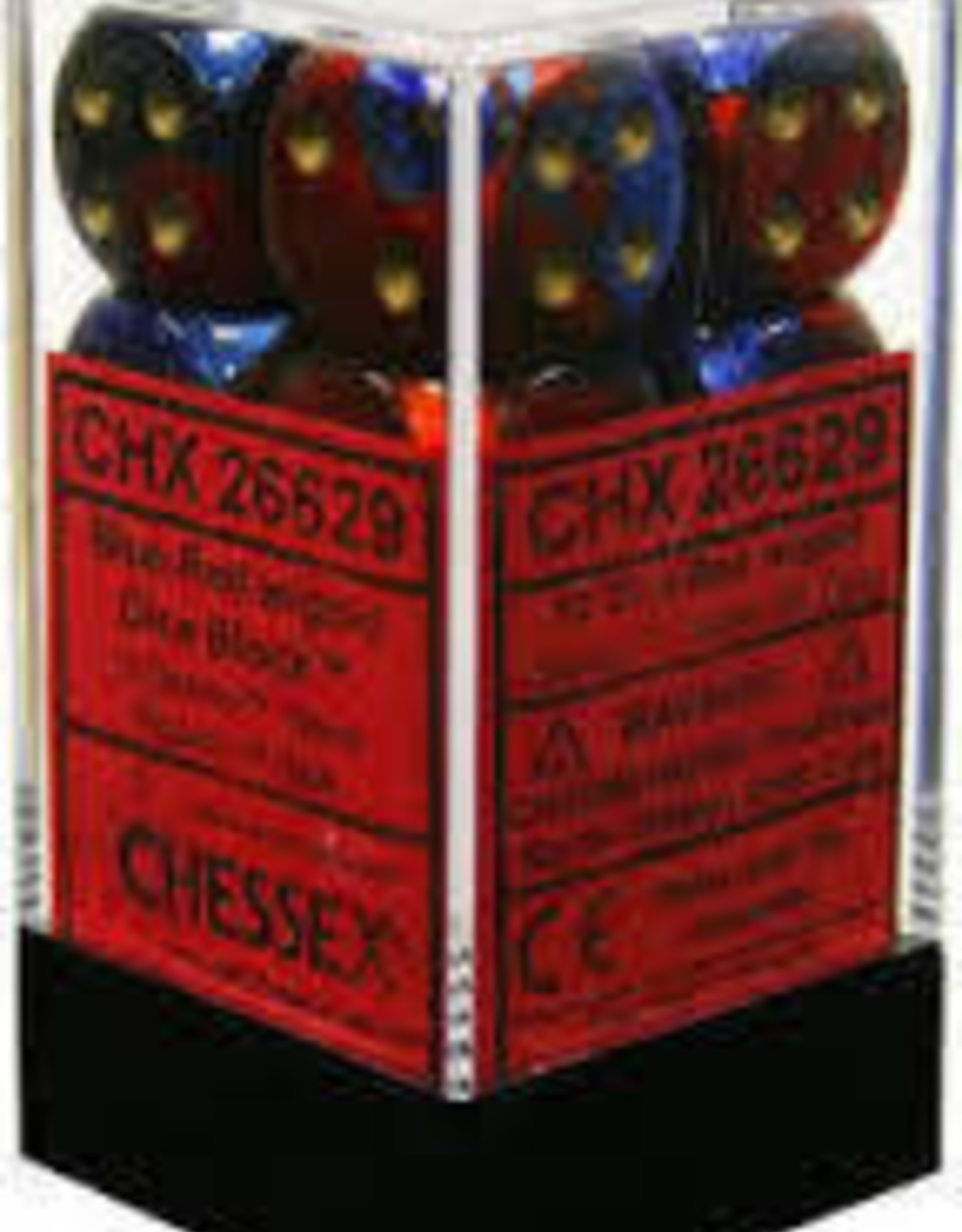 Chessex d6 Cube 16mm Gemini Blue & Red w/ Gold (12)