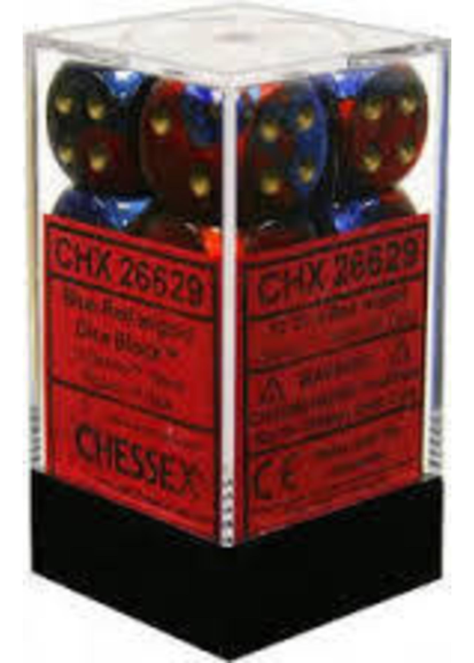 Chessex d6 Cube 16mm Gemini Blue & Red w/ Gold (12)