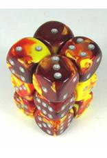 Chessex 12 Red Yellow Gemini 16mm D6 Dice Block - CHX26650