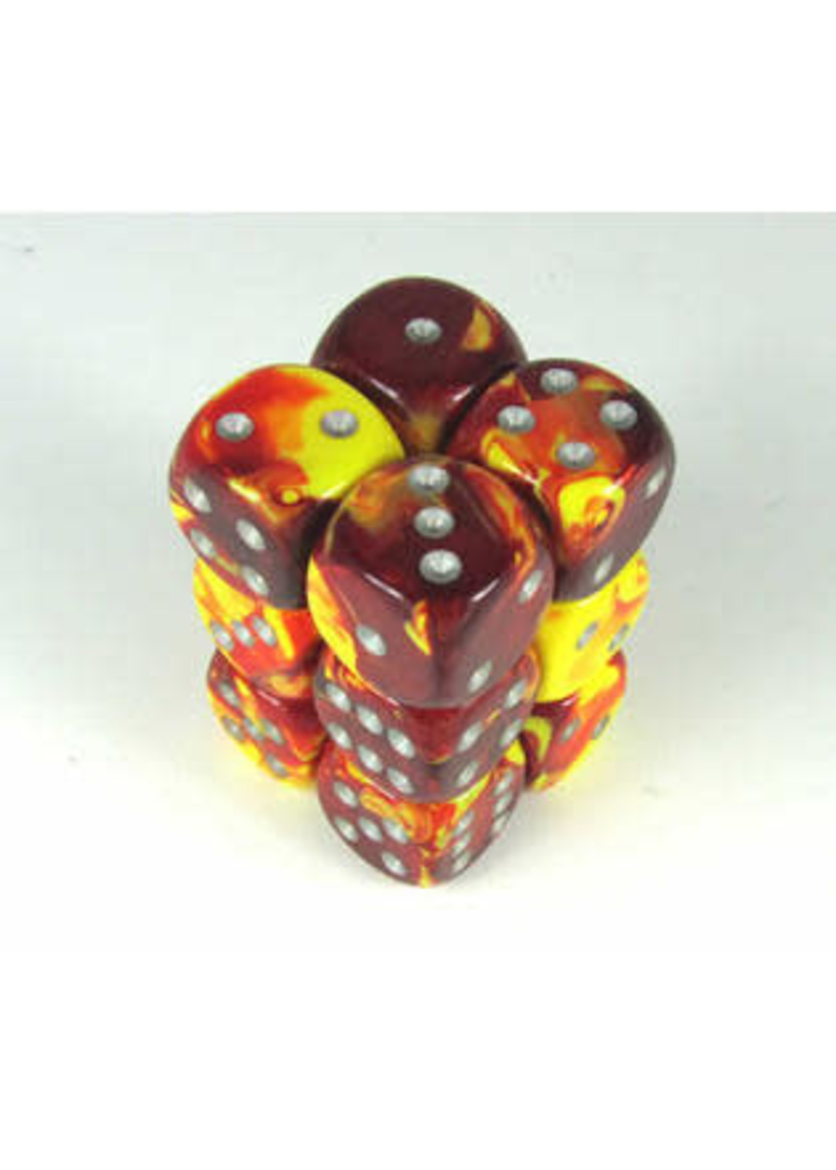 Chessex d6 Cube 16mm Gemini Red & Yellow w/ Silver (12)