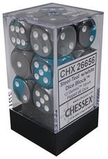 Chessex d6 Cube 16mm Gemini Steel & Teal w/ White (12)