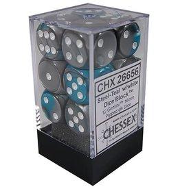Chessex 12 Steel-Teal w/white Gemini 16mm D6 Dice Block - CHX26656