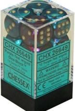 Chessex d6 Cube 16mm Gemini Purple & Teal w/ Gold (12)