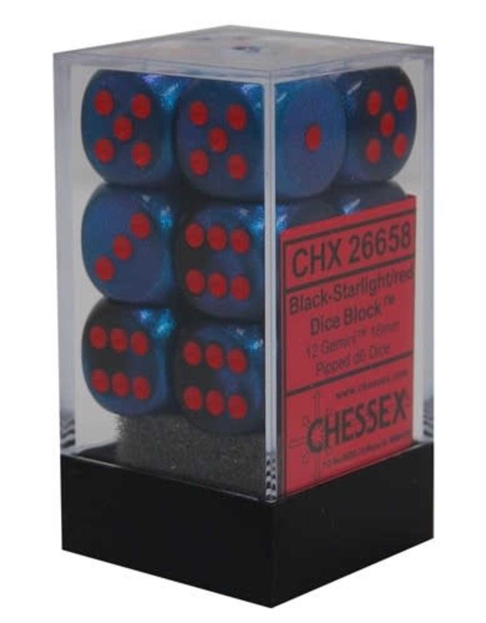 Chessex d6 Cube 16mm Gemini Black & Starlight  w/ Red (12)