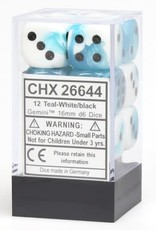 Chessex d6 Cube 16mm Gemini White & Teal w/ Black (12)