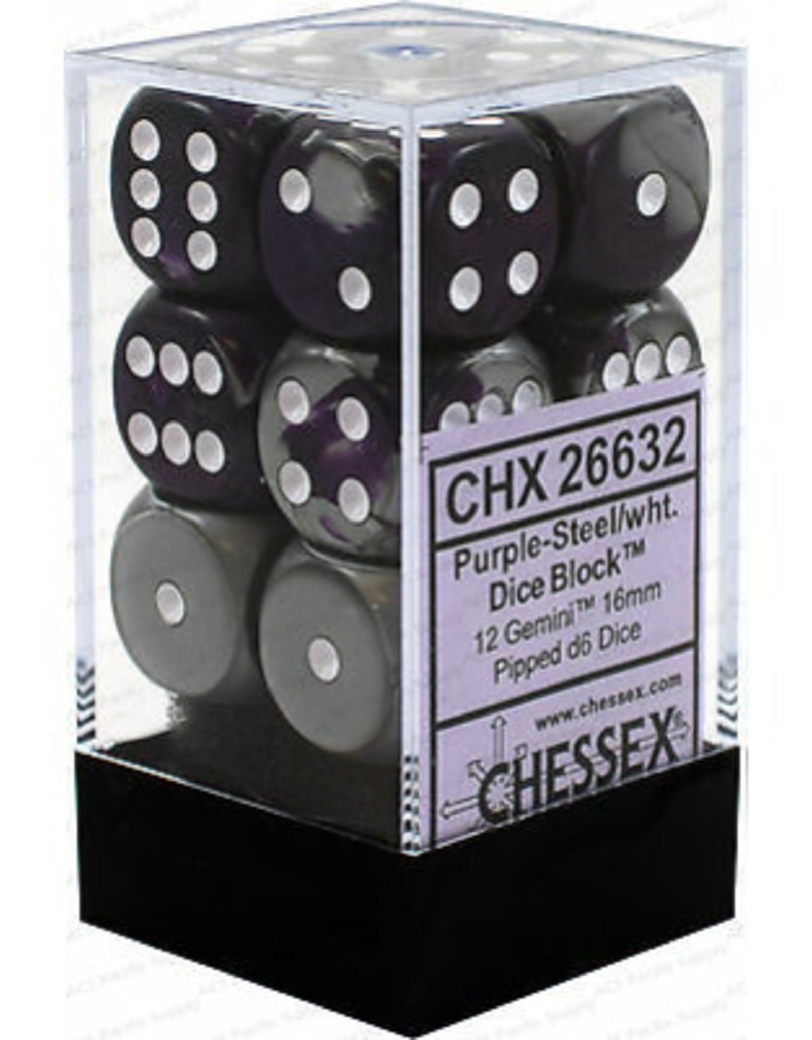 Chessex d6 Cube 16mm Gemini Purple & Steel w/ White (12)