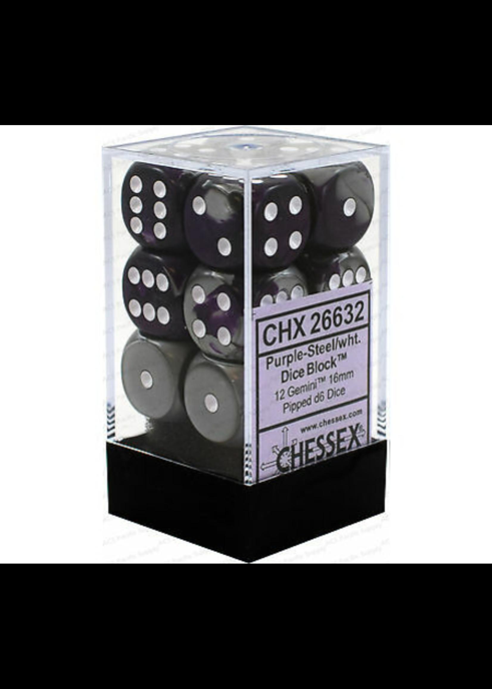 Chessex d6 Cube 16mm Gemini Purple & Steel w/ White (12)