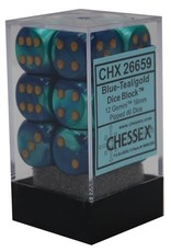 Chessex d6 Cube 16mm Gemini Blue & Teal w/ Gold (12)