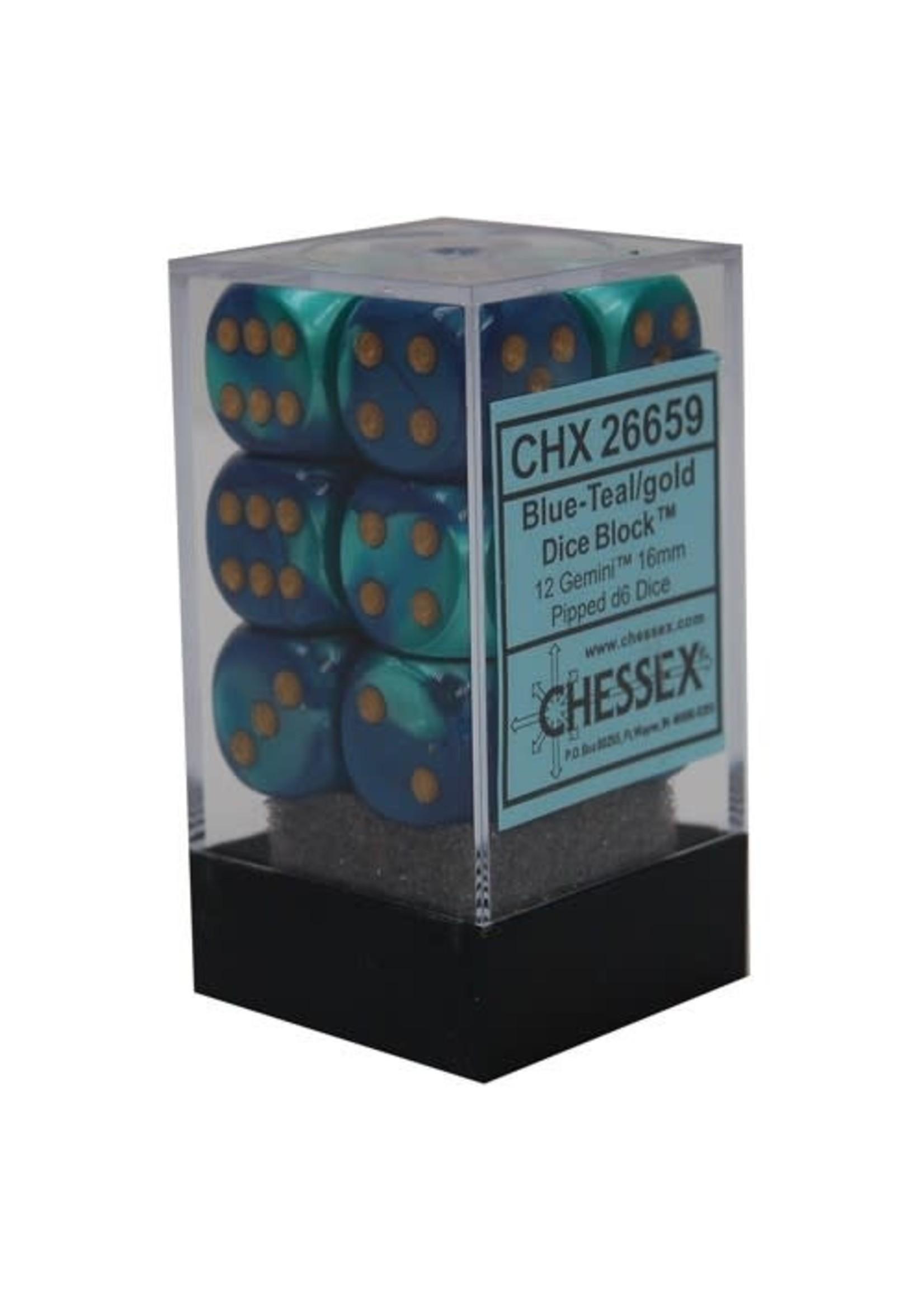 Chessex d6 Cube 16mm Gemini Blue & Teal w/ Gold (12)