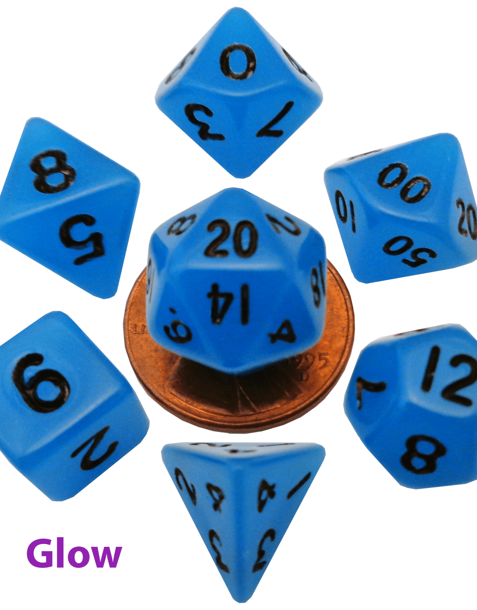 Metallic Dice Game Glow in the Dark Blue Dice 7 Set