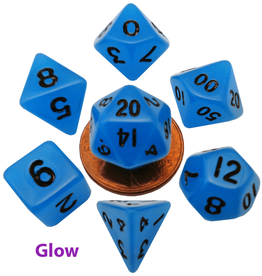 Metallic Dice Game Glow in the Dark Blue Dice 7 Set