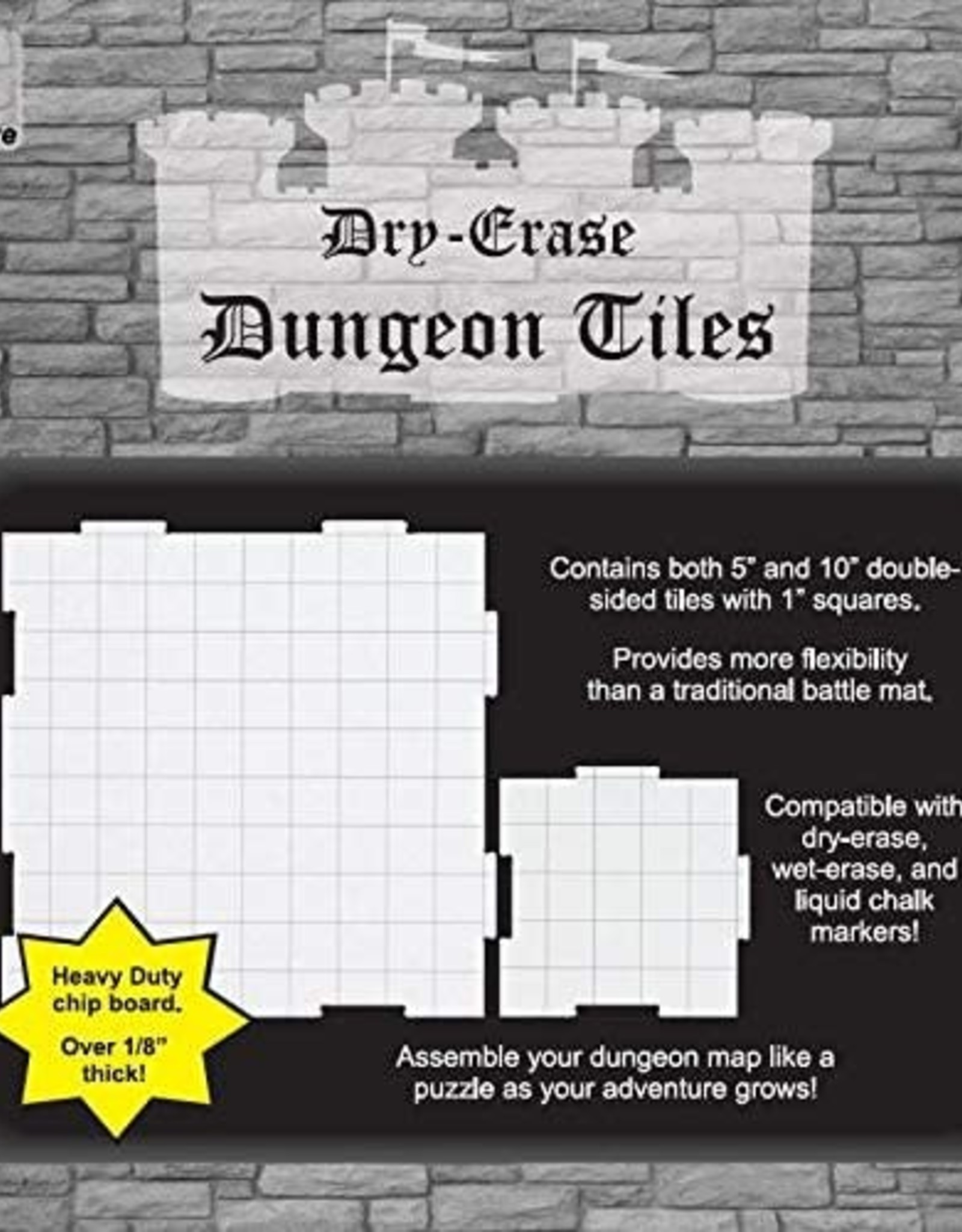 "Roll 4 Initiative Dry Erase Dungeon Tiles Combo 10"" & 5"" tiles"