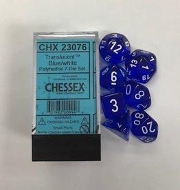 Chessex Translucent Blue/white 7 Die Set - CHX23076