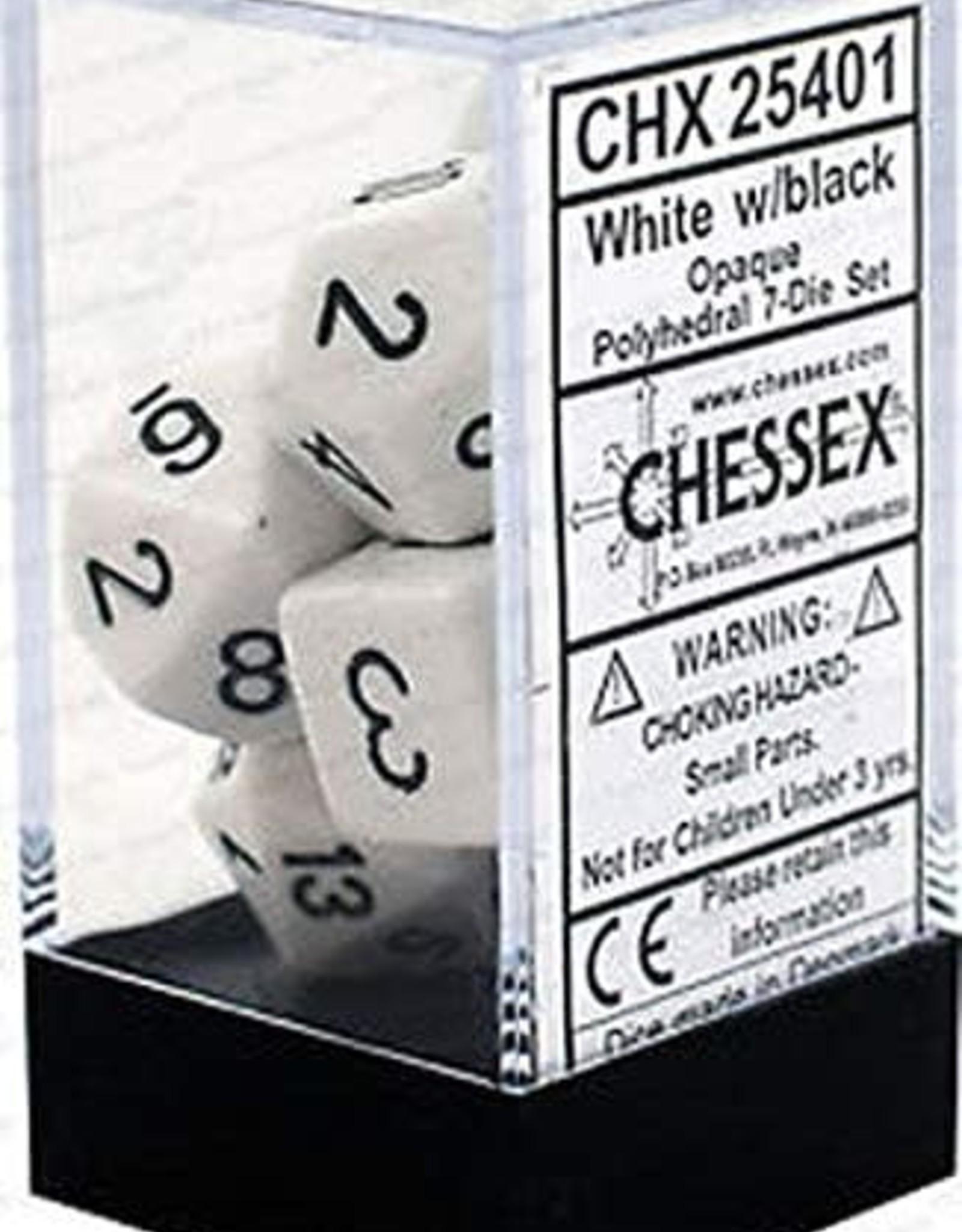 Chessex Opaque Poly 7 set: White w/ Black