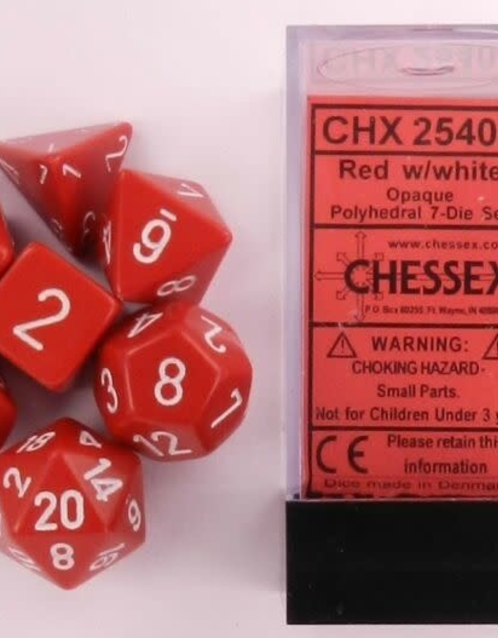 Chessex Opaque Poly 7 set: Red w/ White