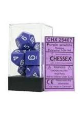 Chessex Opaque Poly 7 set: Purple w/ White