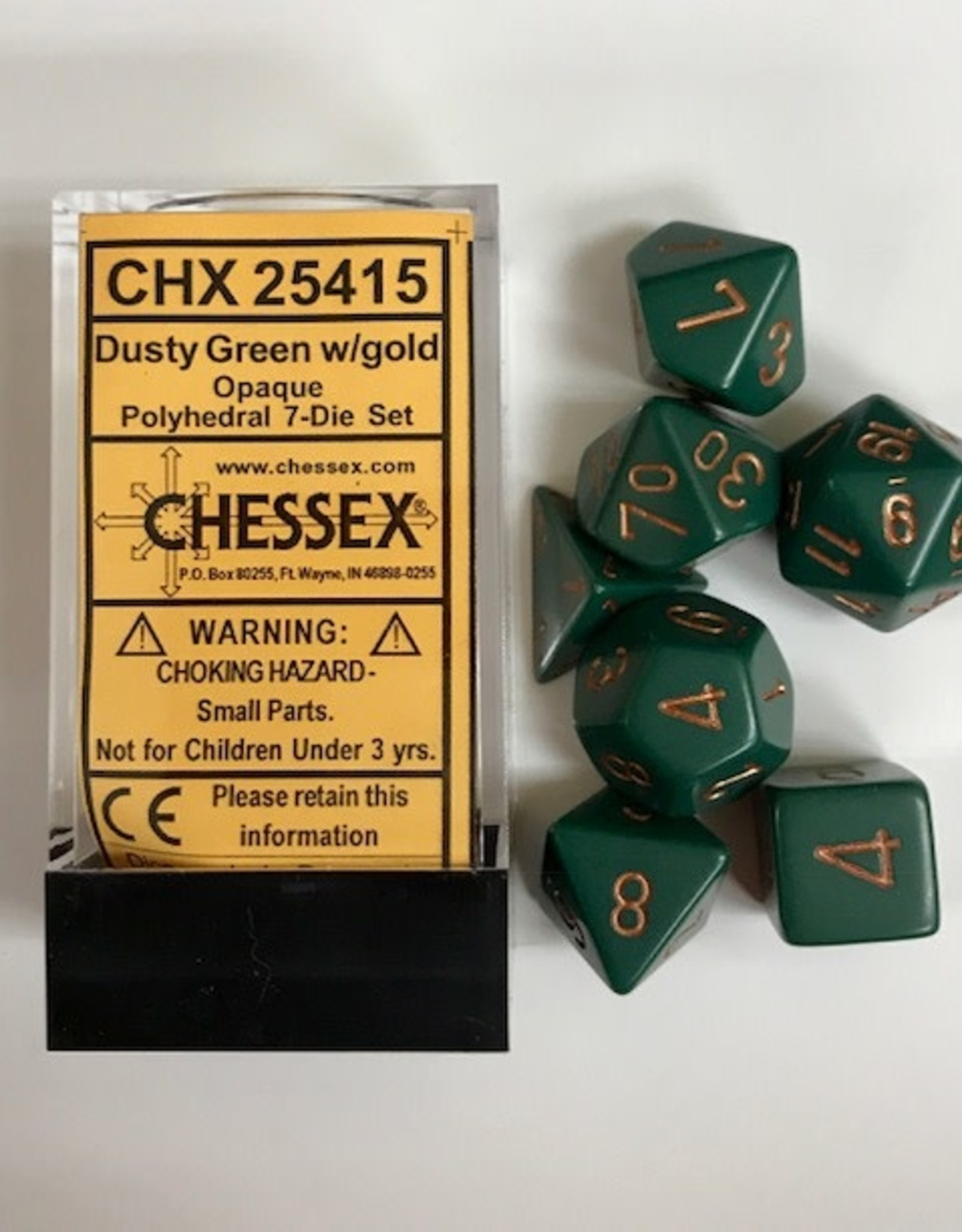 Chessex Dusty Green w/Gold Numbers CHX25415