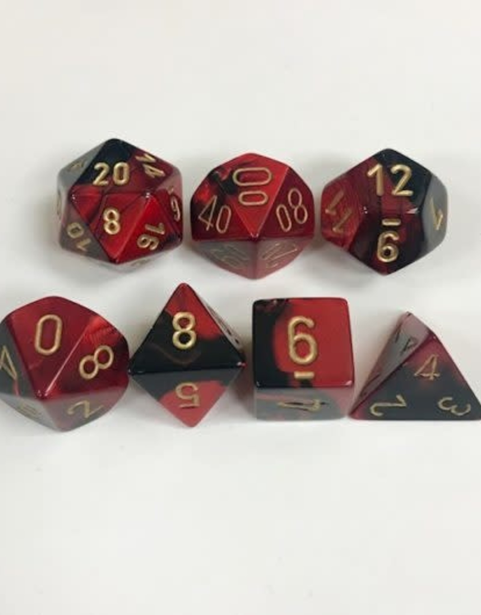 Chessex Gemini Poly 7 set: Black & Red w/ Gold