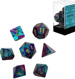 Chessex Gemini Poly 7 set: Purple & Teal w/ Gold